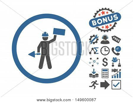 Builder With Shovel pictograph with bonus pictograph collection. Glyph illustration style is flat iconic bicolor symbols, cobalt and gray colors, white background.
