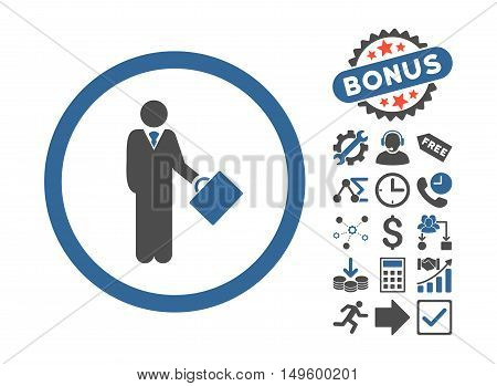 Businessman icon with bonus symbols. Glyph illustration style is flat iconic bicolor symbols, cobalt and gray colors, white background.
