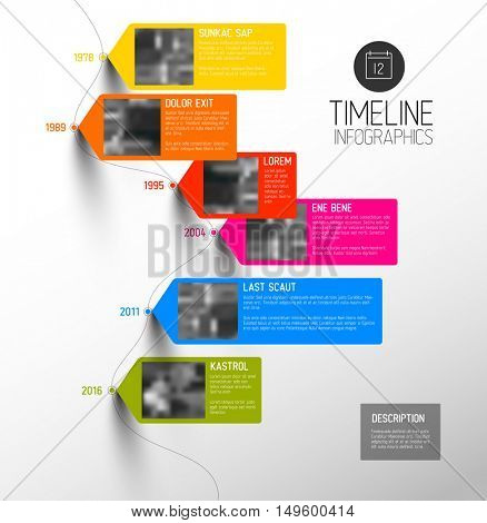 Vector colorful Infographic typographic timeline report template with the biggest milestones, photos, years and description - vertical version