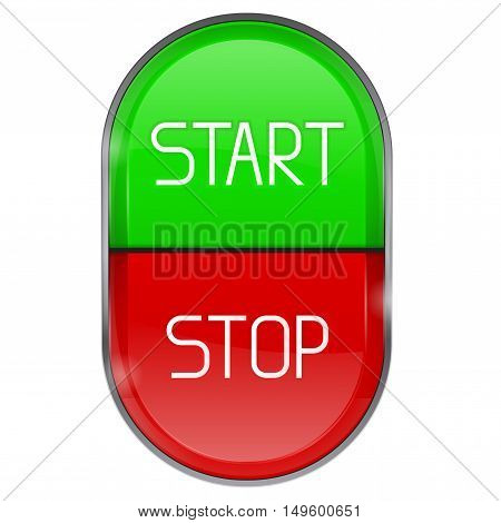 Start and stop oval button. Red and green button. Vector illustration isolated on white background
