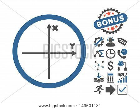 Cartesian Axis icon with bonus clip art. Glyph illustration style is flat iconic bicolor symbols, cobalt and gray colors, white background.