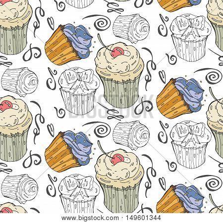 Seamless pattern with hand painted cupcakes with cream and sweet cherries. Vector background with black and white cupcakes and colorful cakes. Print package design wrapping textile
