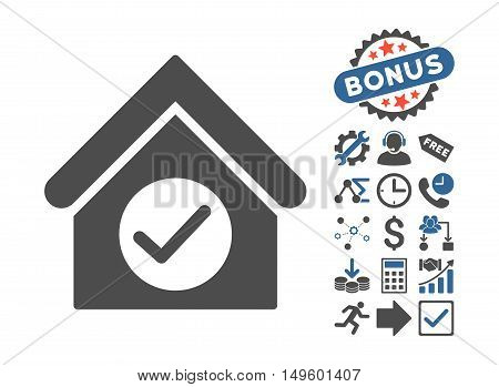 Check Building pictograph with bonus pictures. Glyph illustration style is flat iconic bicolor symbols, cobalt and gray colors, white background.