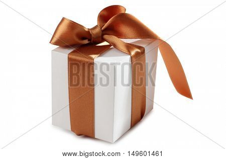 Box and ribbon on white background