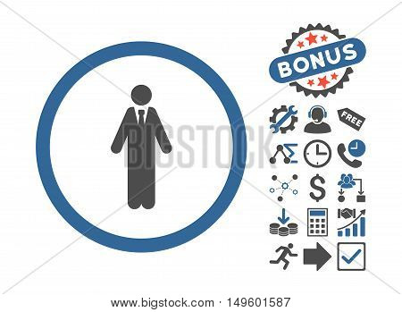 Clerk pictograph with bonus images. Glyph illustration style is flat iconic bicolor symbols, cobalt and gray colors, white background.
