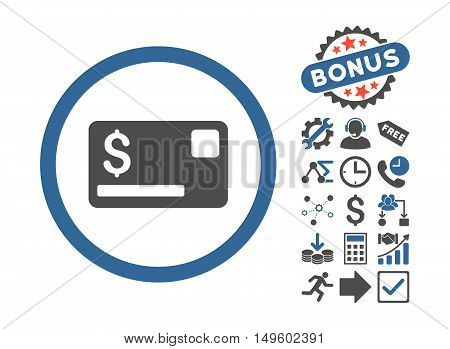 Credit Card pictograph with bonus design elements. Glyph illustration style is flat iconic bicolor symbols, cobalt and gray colors, white background.