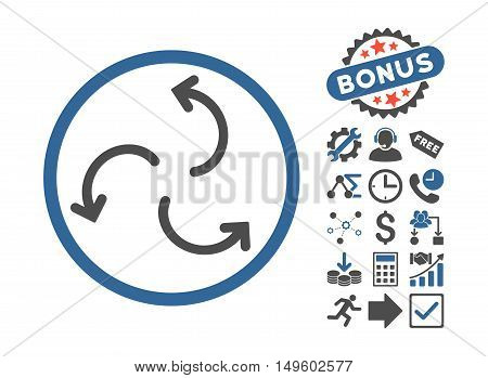 Cyclone Arrows icon with bonus pictures. Glyph illustration style is flat iconic bicolor symbols, cobalt and gray colors, white background.