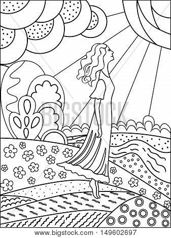 Simple outline drawing for coloring. Printable Coloring. Coloring Books for adults. Woman and Nature.