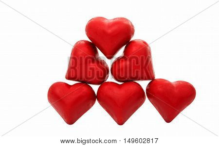 Candy red heart isolated on white background