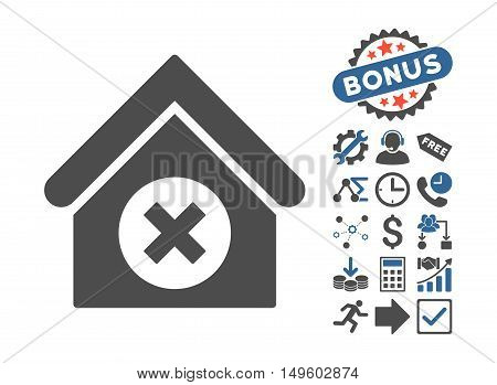 Delete Building icon with bonus pictograph collection. Glyph illustration style is flat iconic bicolor symbols, cobalt and gray colors, white background.