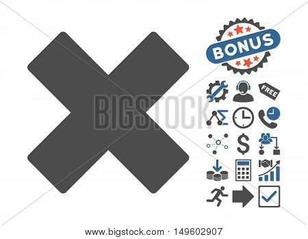 Delete X-Cross icon with bonus pictogram. Glyph illustration style is flat iconic bicolor symbols, cobalt and gray colors, white background.