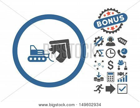 Demolition pictograph with bonus images. Glyph illustration style is flat iconic bicolor symbols, cobalt and gray colors, white background.