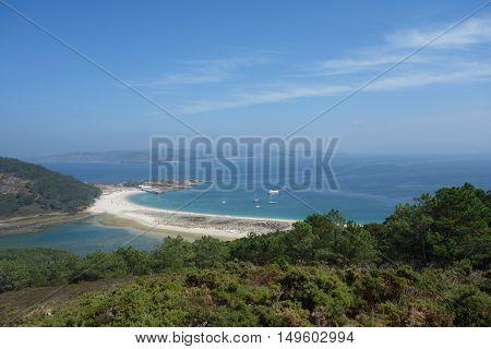Cies Islands beach view in Vigo, Spain