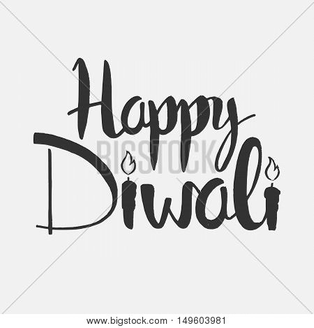 Happy Diwali lettering. Modern vector hand drawn calligraphy over white background for your greeting card design
