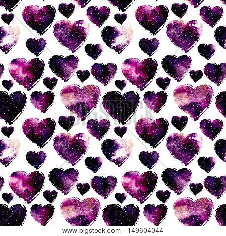 Watercolor Seamless Pattern with Bright Pink Galaxy in Hearts