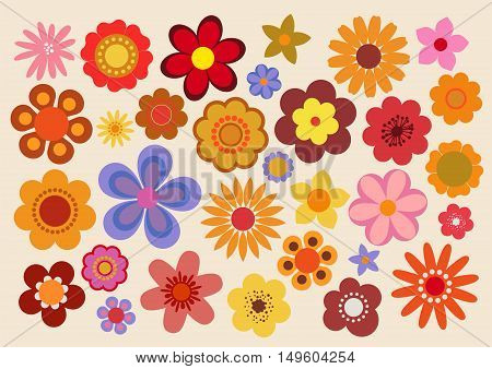 Vector illustration of the flowers design and colors during the sixties and the seventies
