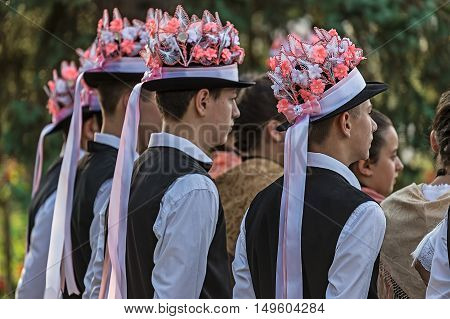TIMISOARAROMANIA-SEPTEMBER 242016:Group of youth German dancers from Banat Romania dressed in folk costumes present at traditional event Festival of ethnics
