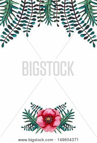 Frame with Watercolor Bright Red Flower and Deep Green Foliage