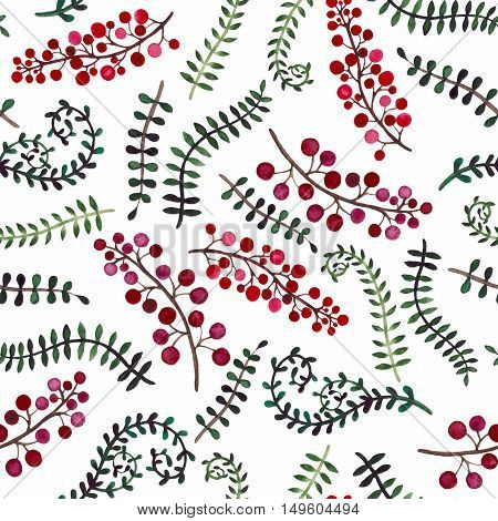 Seamless Pattern with Watercolor Green Vine and Bright Red Berries