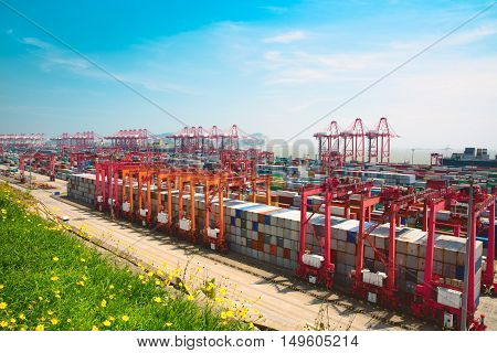 Shanghai Yangshan deepwater port is a deep water port for container ships in Hangzhou Bay south of Shanghai China.