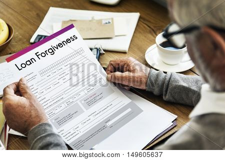 Loan Forgiveness Debt Filling Application Concept