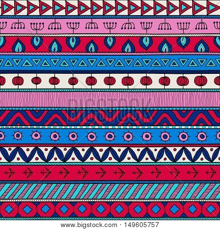 Tribal multicolor seamless pattern. indian or african ethnic patchwork style. Vector image for textile decorative background wrapping paper. Red and blue colors