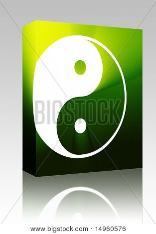 Software package box Yin yang symbol oriental representation of duality
