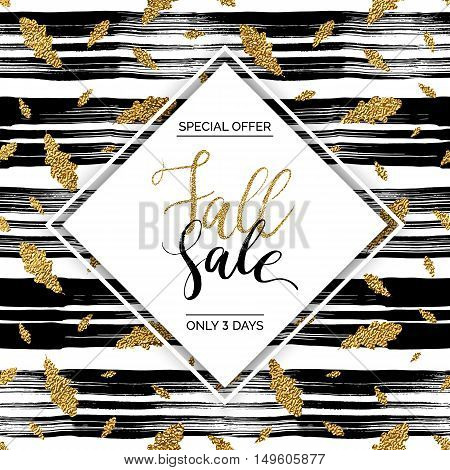 Autumn fall sale vector text on gold autumn leaves seamless pattern on striped background, special offer autumn sale, golden shiny autumnal text for card, poster, banner, print,