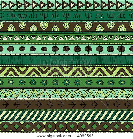 Tribal multicolor seamless pattern. indian or african ethnic patchwork style. Vector image for textile decorative background wrapping paper. Jungle colors