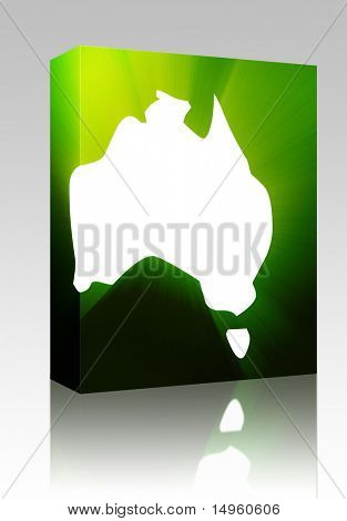 Software package box Map of Australia, abstract graphical design illustration