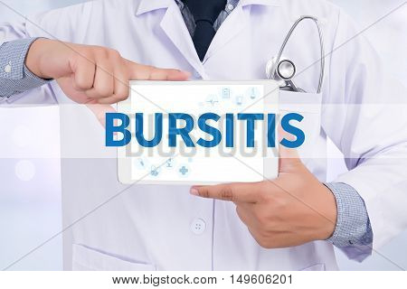 BURSITIS Doctor holding digital tablet Doctor work hard and Doctor medical