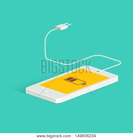 Flat vector image of phone, cable and charger. Phone charge image. Low battery. Isometric view. Vector flat style