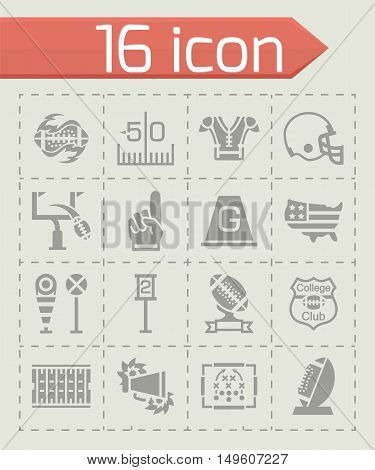 Vector American football icon set on grey background