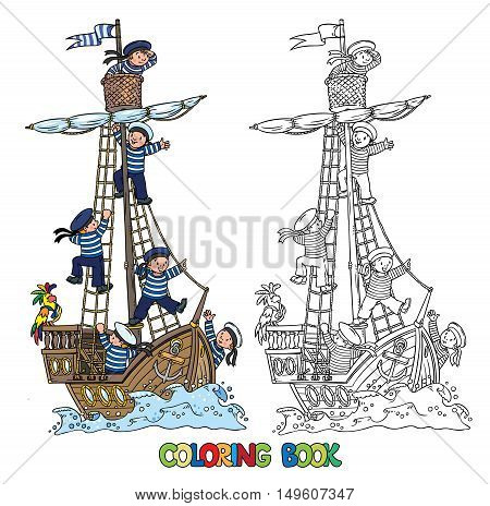 Coloring book of a wooden sailboat with a team of six Jolly boys-sailors in vests and sailor hats and a parrot. Children vector illustration