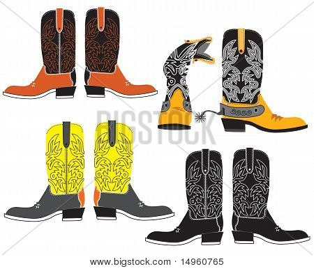 Vector Shoes For Cowboy On White. Special Clothes