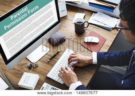Parental Permission Form Contract Concept