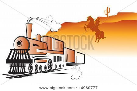 Vector Cowboy And Locomotive. Western Bandit Life