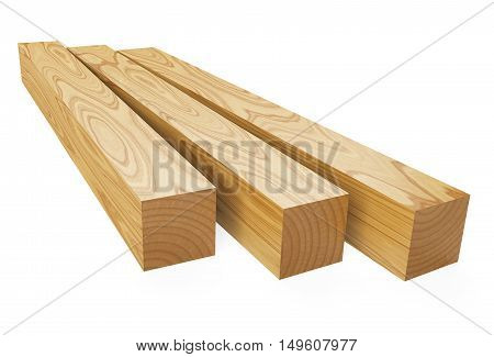 Wooden beams. 3d illustration isolated on a white background.