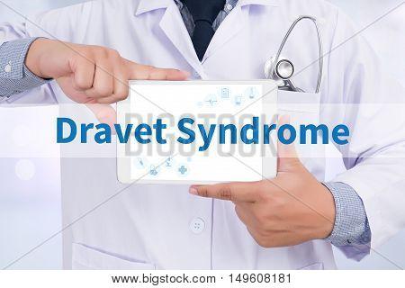 Dravet Syndrome Doctor holding digital tablet doctor work hard top view  concept