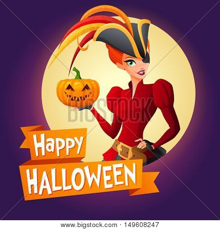 Halloween card. Beautiful redhead woman in purple pirate Halloween costume with pumpkin. Cartoon style vector illustration on dark background with text.