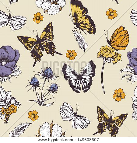 Vintage vector seamless background with butterflies and flowers. Natural floral pattern. Botanical illustration