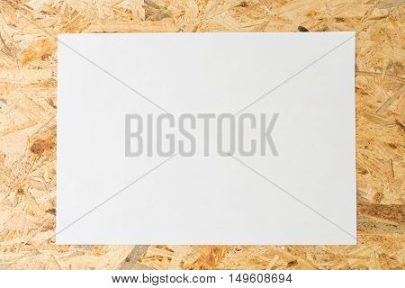 Blank White Sheet Of Paper, On Flakeboard