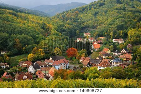View of La Hohwald village from the hill in autumn, Alsace, France