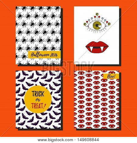 Halloween post cards vector setwith spider bat vampire lips and evil eye