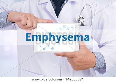 Emphysema Doctor holding digital tablet doctor work hard top view  concept