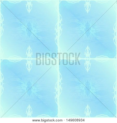 Abstract geometric seamless background in pastel blue shades with white scrolled elements, delicate and dreamy.