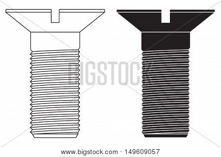 Screw bolt icon. Vector illustration isolated on white background