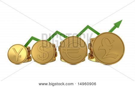 Currencies symbols and green line