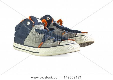 Pair of new sneakers isolated on white background