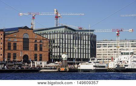 Oslo, Norway - September 17, 2016: Aker Brygge In Oslo On 17 Sep